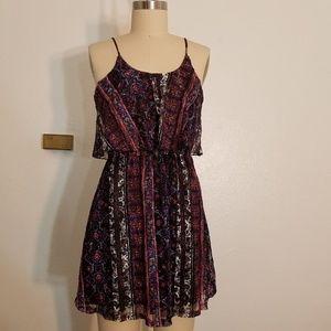 Boho Printed Lace Crop Top Dress